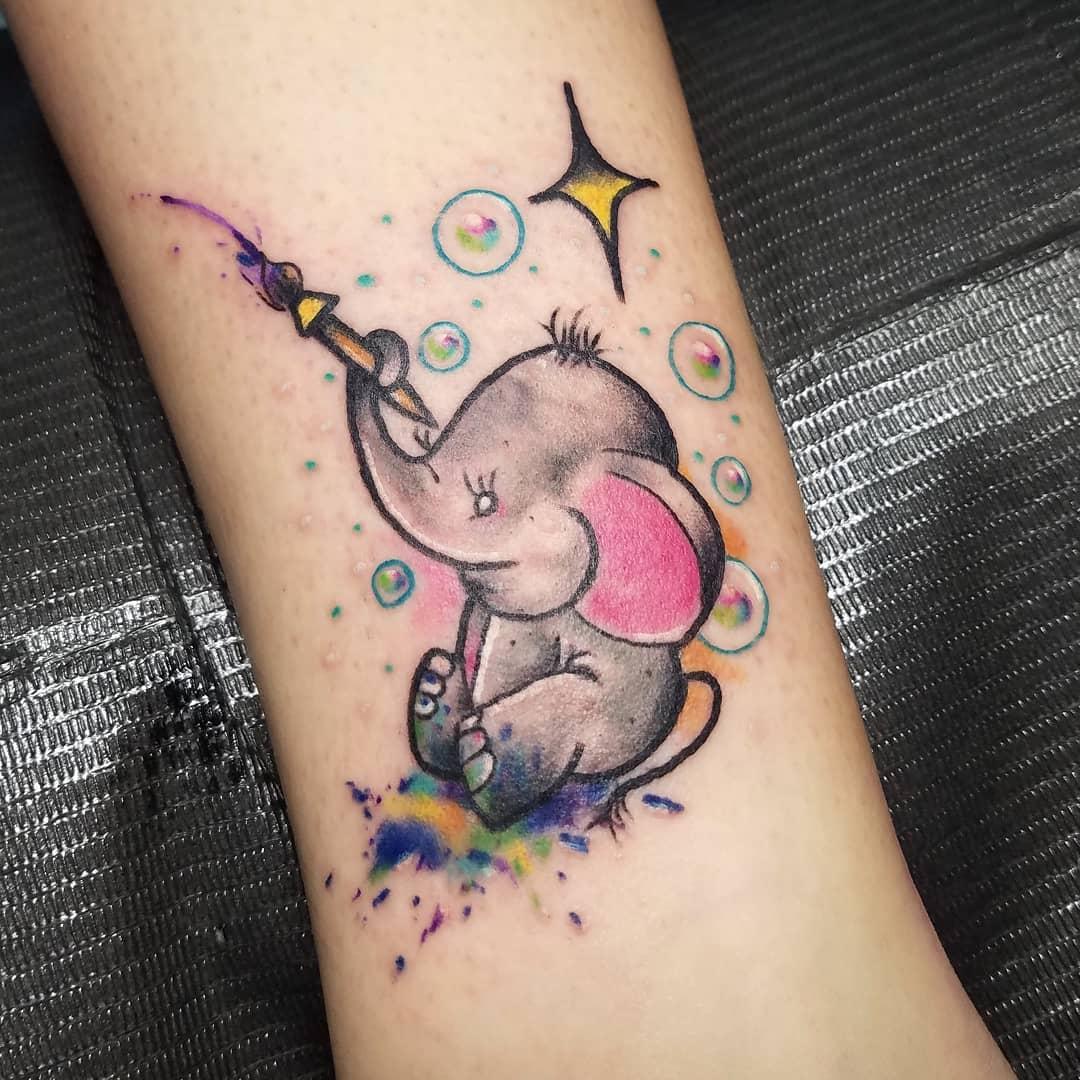 做网店店长的伏小姐小腿小象纹身图案 - 西安纹彩刺青