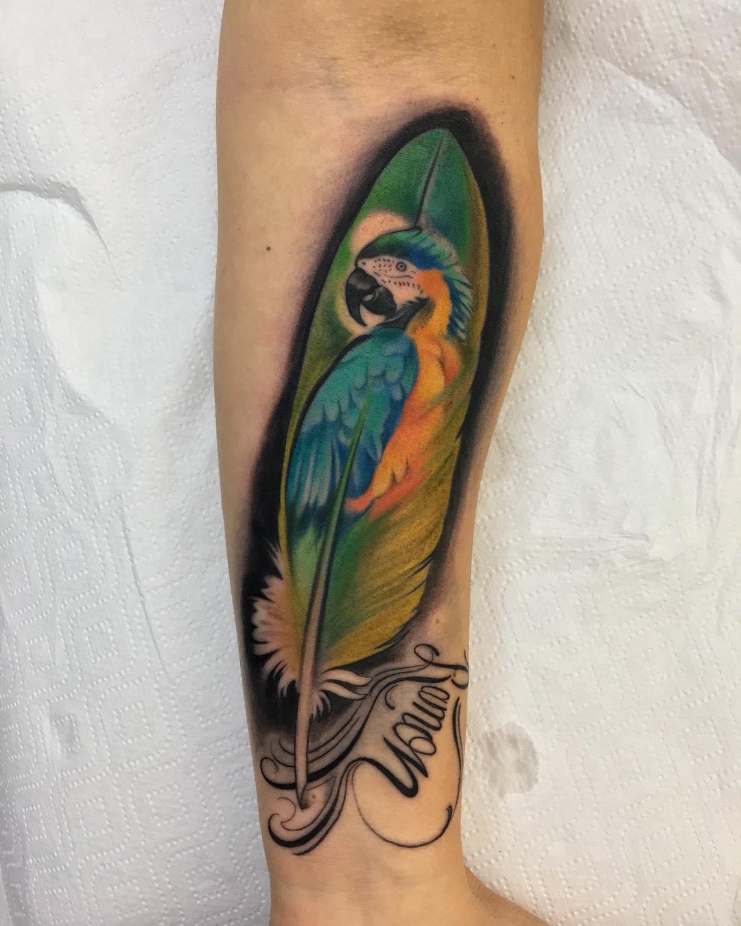 西安江林新城做建筑工程师的曹先生小臂羽毛鹦鹉英文字纹身图案
