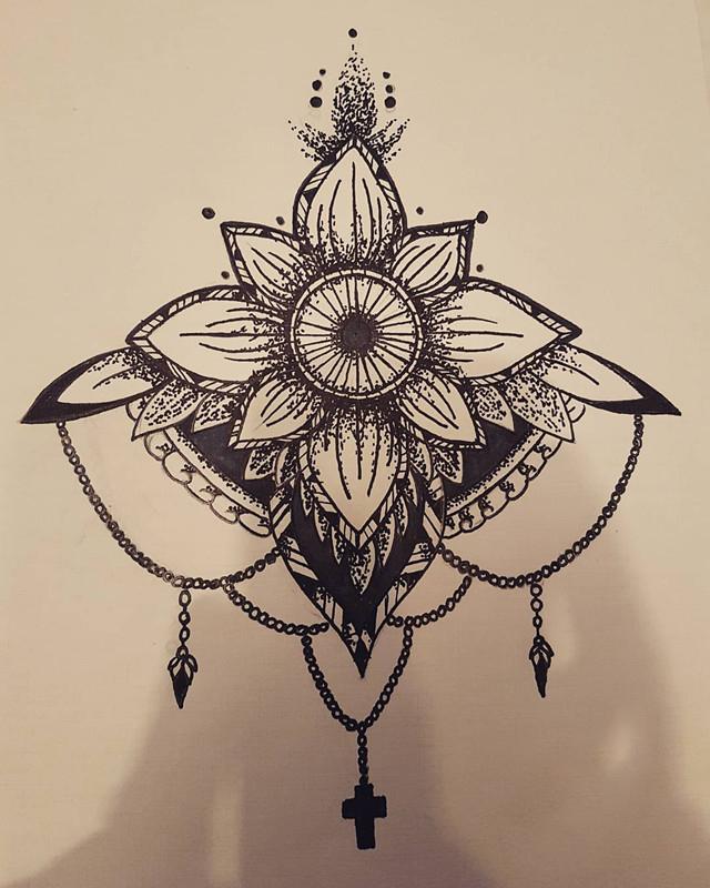 做美容顾问的胡小姐梵花纹身手稿