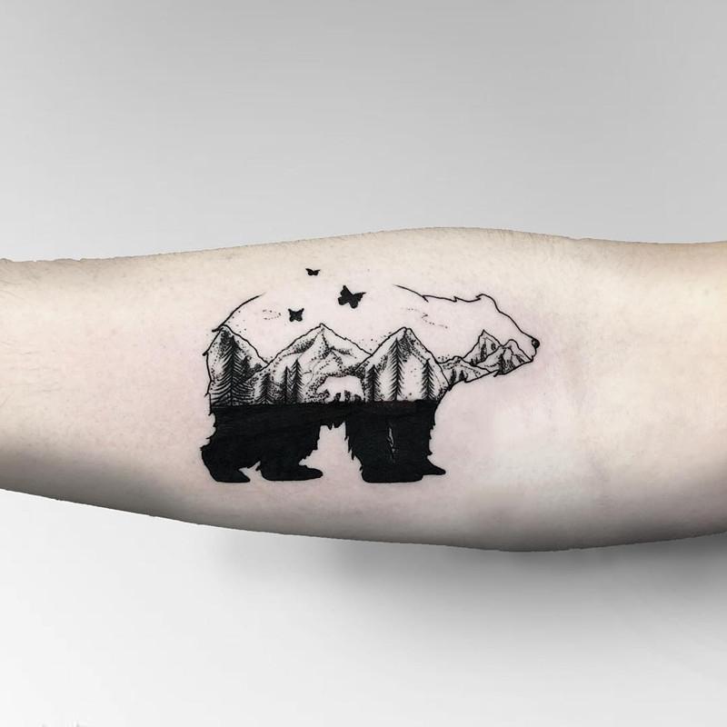 做文员的寇先生小臂山峰熊纹身图案
