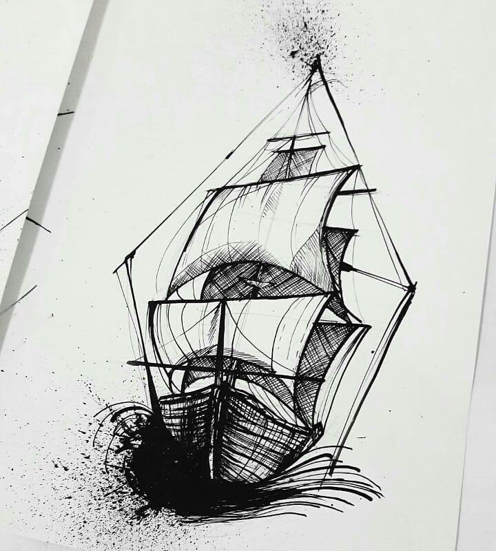 生帆船纹身手稿