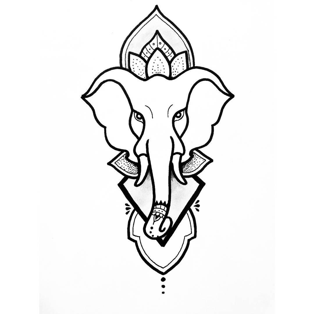 梵花大象纹身手稿