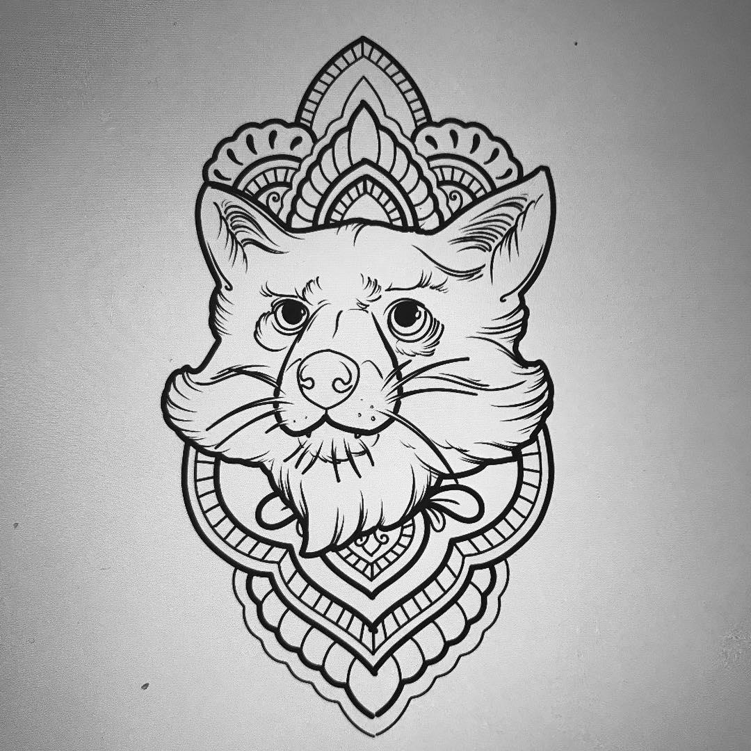 梵花狐狸纹身手稿