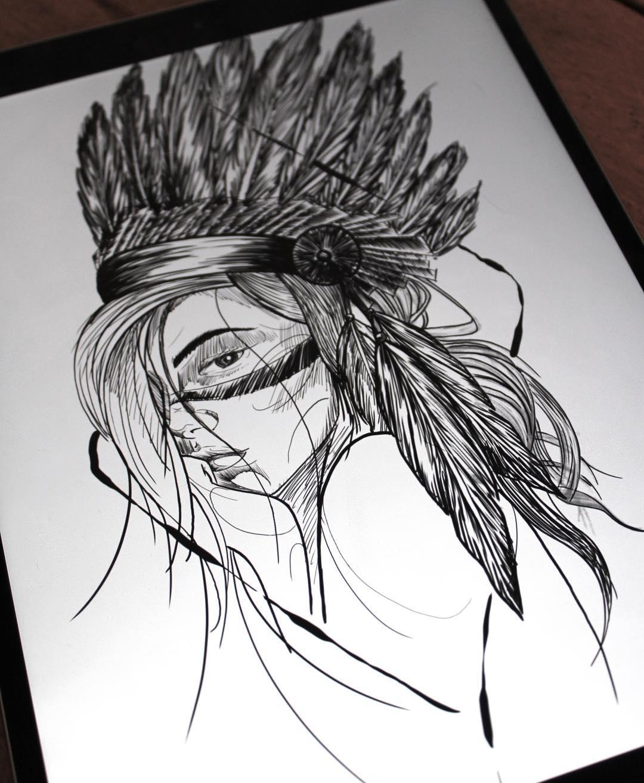 印第安美女纹身手稿