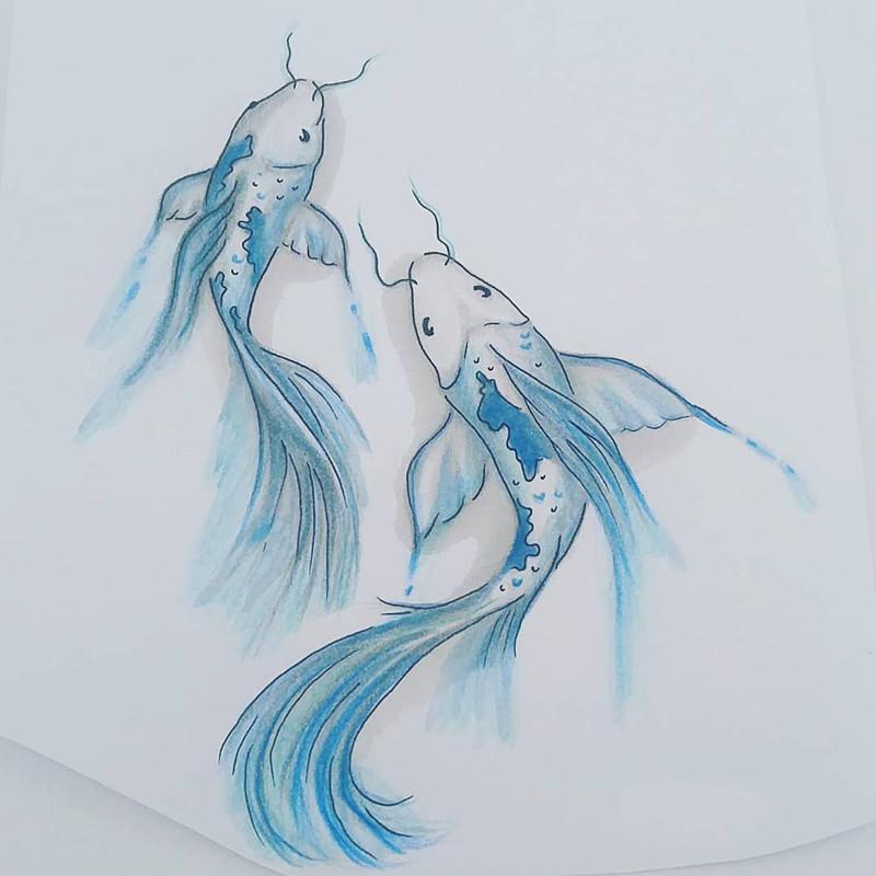 金鱼纹身手稿