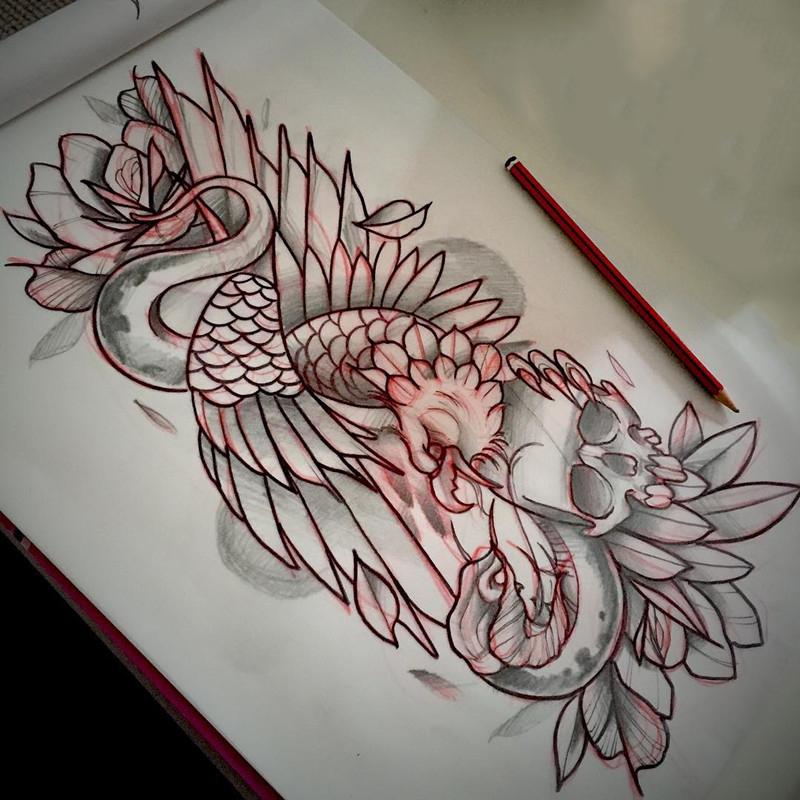 孔雀骷髅蛇纹身手稿