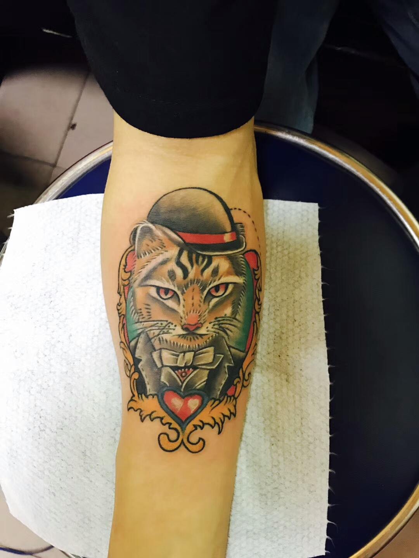 网红歌手邓先生手臂处的绅士猫纹身图案
